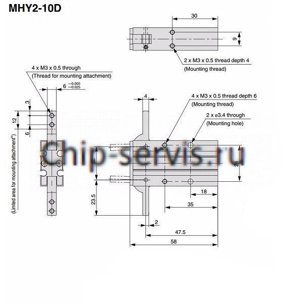Пневмоцилиндры MHY2 10D, HFY