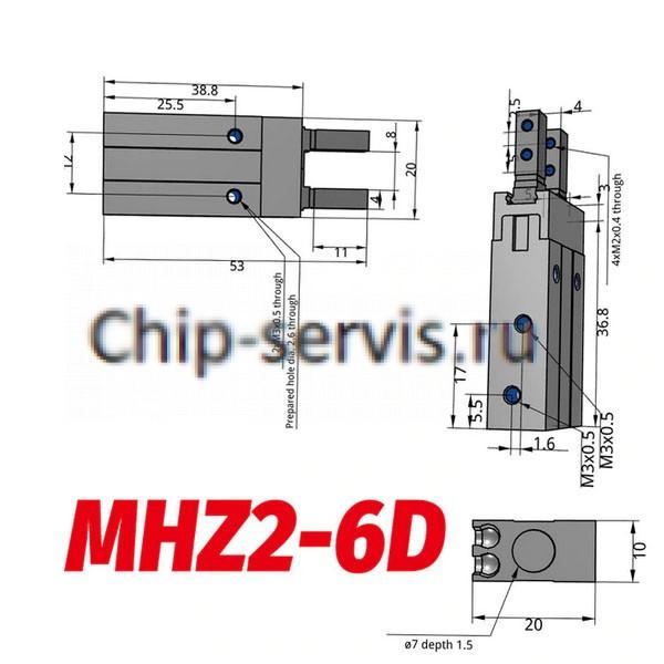 Пневмоцилиндры MHZ2-6D, SMC